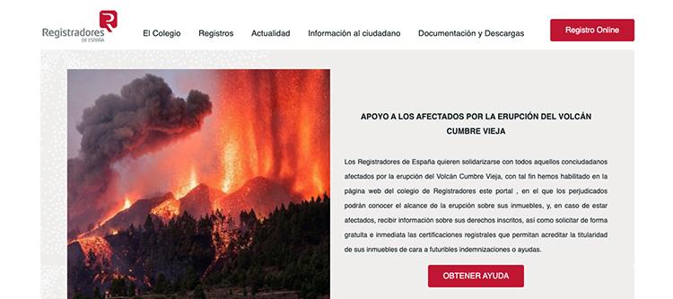 Los registradores habilitan un servicio para comprobar las fincas afectadas por la erupción del volcán