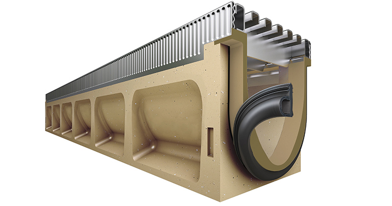 Canal de drenaje de hormigón polímero con junta EPDM