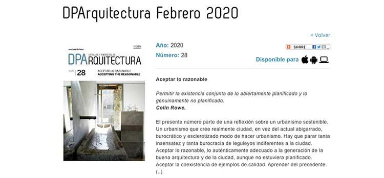La revista DPArquitectura se puede consultar en abierto y de manera gratuita